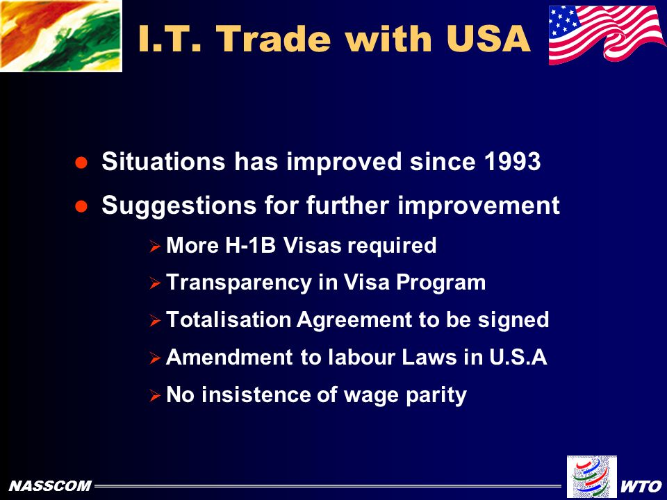 Problems in I.T Trade with USA H-1B Visa Global cap not sufficient Wage parity insisted upon by U.S.A (Discriminating) Double taxation of Social Security (no benefits to Indian Employees) Discriminating Labour Laws Non-Tariff Trade Barriers NASSCOM WTO