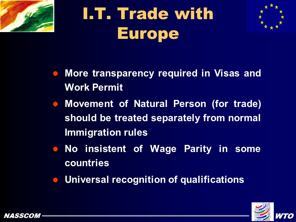 Problems in I.T Trade with Europe No Transparency in Visa Program Movement of Natural Person restricted Double taxation of Social Security Opening of office is a problem Delay in Work Permits NASSCOM WTO