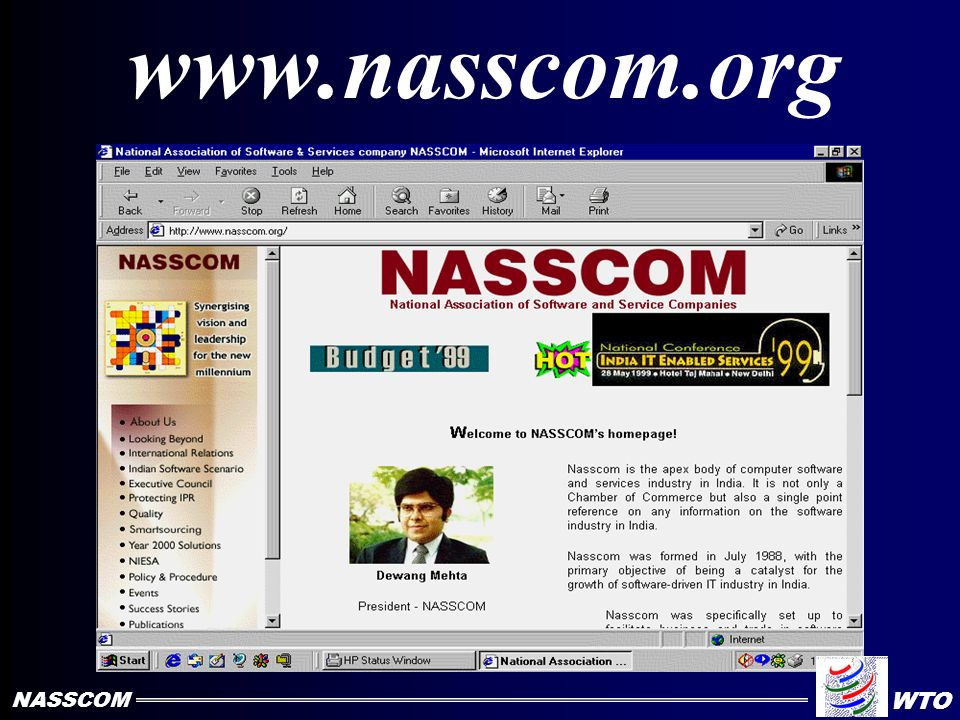 PROJECTIONS INDIAN SOFTWARE INDUSTRY 6 35 10 50 16 85 0 10 20 30 40 50 60 70 80 90 20022008 Domestic Export Total In US$ Billion NASSCOM WTO