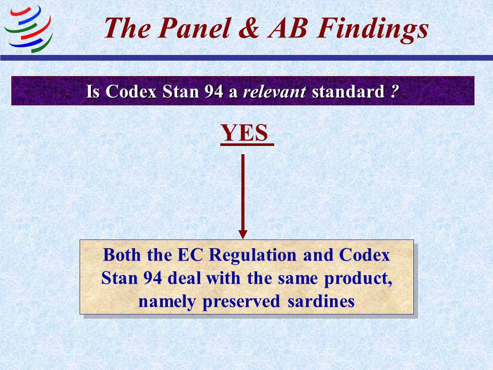 Is Codex Stan 94 a standard ? YES It provides for common and repeated use, rules, guidelines or characteristics for products Compliance is not mandato