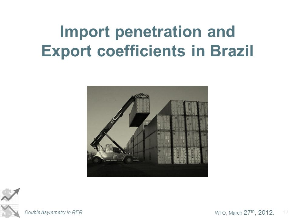 WTO, March 27 th, 2012. Double Asymmetry in RER 12 Import penetration and Export coefficients in Brazil