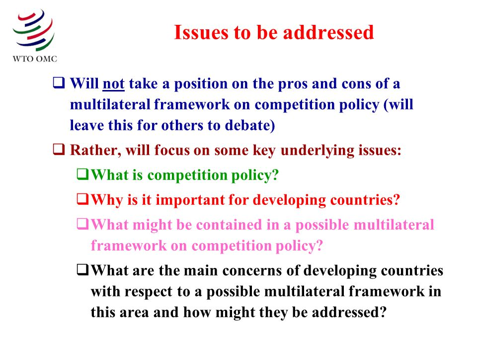 Issues to be addressed Will not take a position on the pros and cons of a multilateral framework on competition policy (will leave this for others to