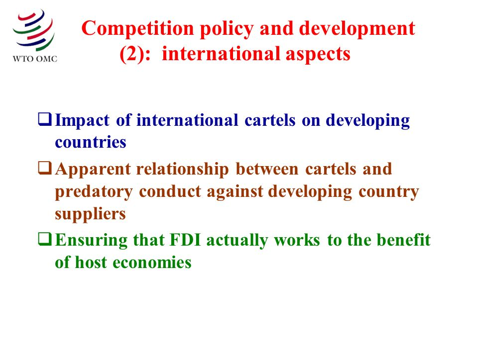 Competition policy and development (2): international aspects Impact of international cartels on developing countries Apparent relationship between ca
