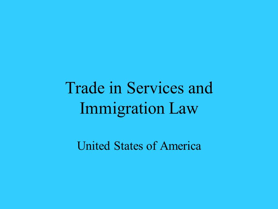 Trade in Services and Immigration Law United States of America