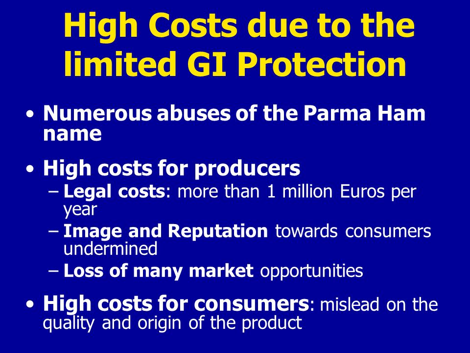 High Costs due to the limited GI Protection Numerous abuses of the Parma Ham name High costs for producers –Legal costs: more than 1 million Euros per