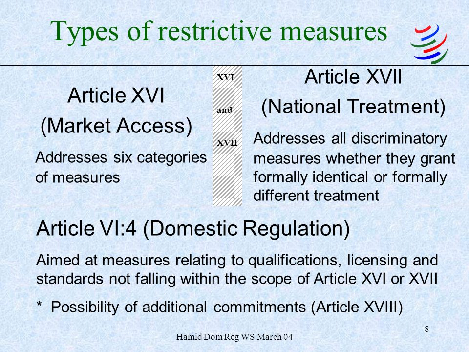 Hamid Dom Reg WS March 04 8 Article XVI (Market Access) Addresses six categories of measures Article XVII (National Treatment) Addresses all discriminatory measures whether they grant formally identical or formally different treatment Article VI:4 (Domestic Regulation) Aimed at measures relating to qualifications, licensing and standards not falling within the scope of Article XVI or XVII * Possibility of additional commitments (Article XVIII) Types of restrictive measures XVI and XVII