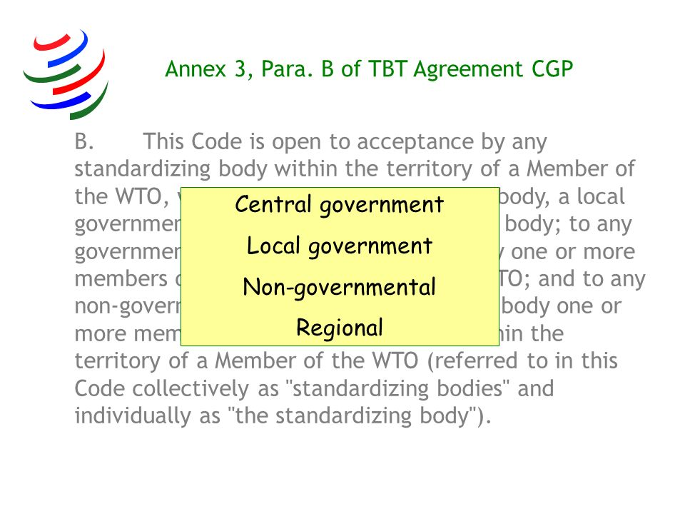 B.This Code is open to acceptance by any standardizing body within the territory of a Member of the WTO, whether a central government body, a local go