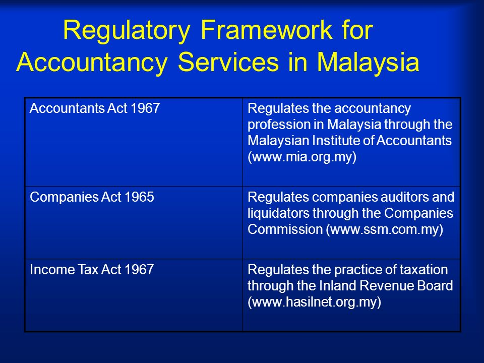 Regulatory Framework for Accountancy Services in Malaysia Accountants Act 1967Regulates the accountancy profession in Malaysia through the Malaysian Institute of Accountants (www.mia.org.my) Companies Act 1965Regulates companies auditors and liquidators through the Companies Commission (www.ssm.com.my) Income Tax Act 1967Regulates the practice of taxation through the Inland Revenue Board (www.hasilnet.org.my)