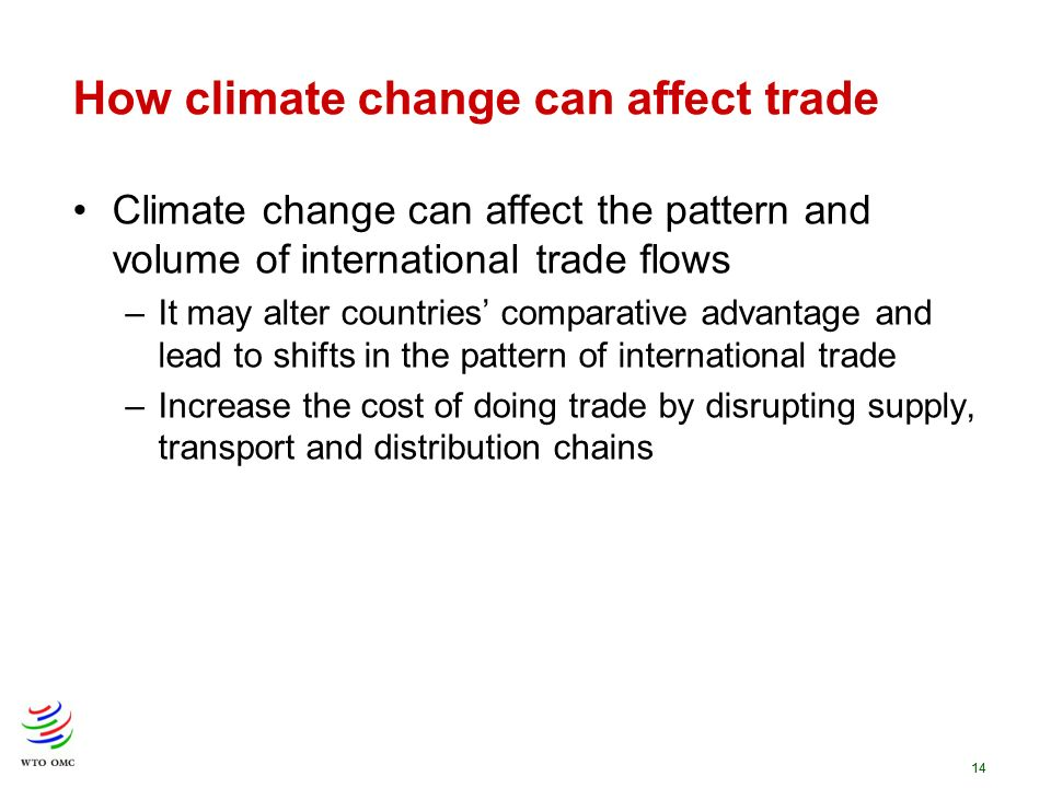 14 How climate change can affect trade Climate change can affect the pattern and volume of international trade flows –It may alter countries comparati