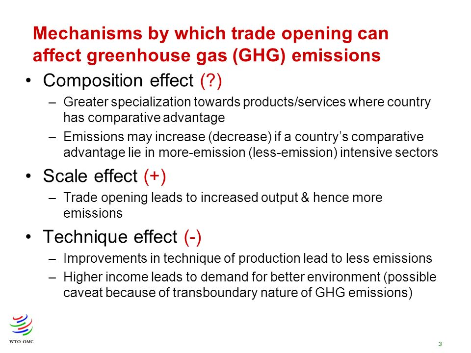 3 Mechanisms by which trade opening can affect greenhouse gas (GHG) emissions Composition effect (?) –Greater specialization towards products/services