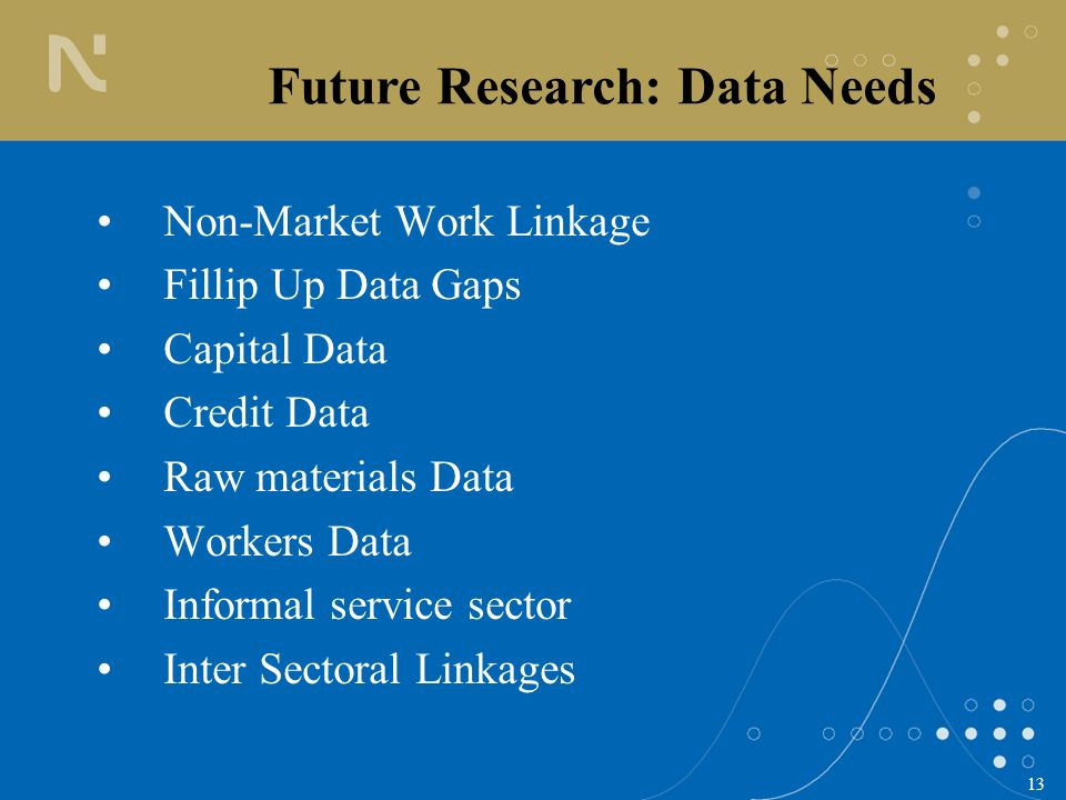 13 Non-Market Work Linkage Fillip Up Data Gaps Capital Data Credit Data Raw materials Data Workers Data Informal service sector Inter Sectoral Linkage
