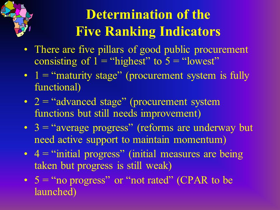 Determination of the Five Ranking Indicators There are five pillars of good public procurement consisting of 1 = highest to 5 = lowest 1 = maturity stage (procurement system is fully functional) 2 = advanced stage (procurement system functions but still needs improvement) 3 = average progress (reforms are underway but need active support to maintain momentum) 4 = initial progress (initial measures are being taken but progress is still weak) 5 = no progress or not rated (CPAR to be launched)
