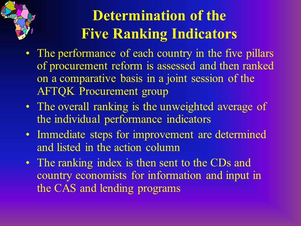 Determination of the Five Ranking Indicators The performance of each country in the five pillars of procurement reform is assessed and then ranked on