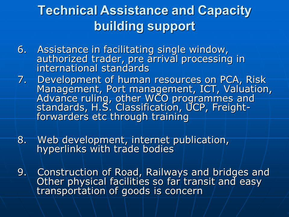 Technical Assistance and Capacity building support 6.