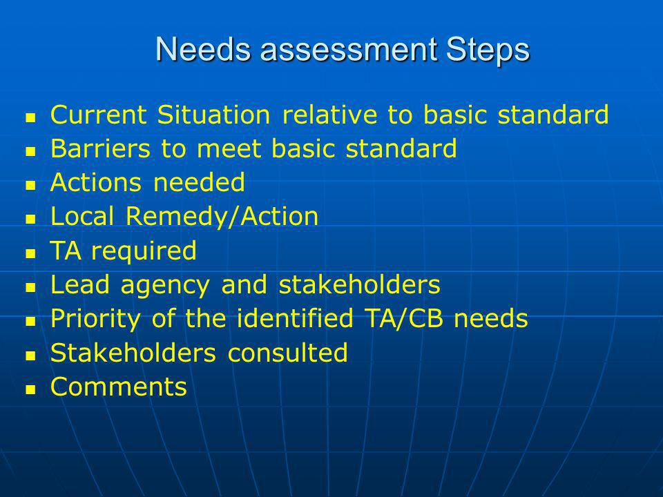 Needs assessment Steps Current Situation relative to basic standard Barriers to meet basic standard Actions needed Local Remedy/Action TA required Lead agency and stakeholders Priority of the identified TA/CB needs Stakeholders consulted Comments