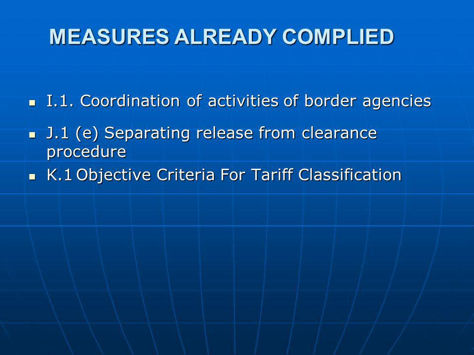 MEASURES ALREADY COMPLIED I.1. Coordination of activities of border agencies I.1.