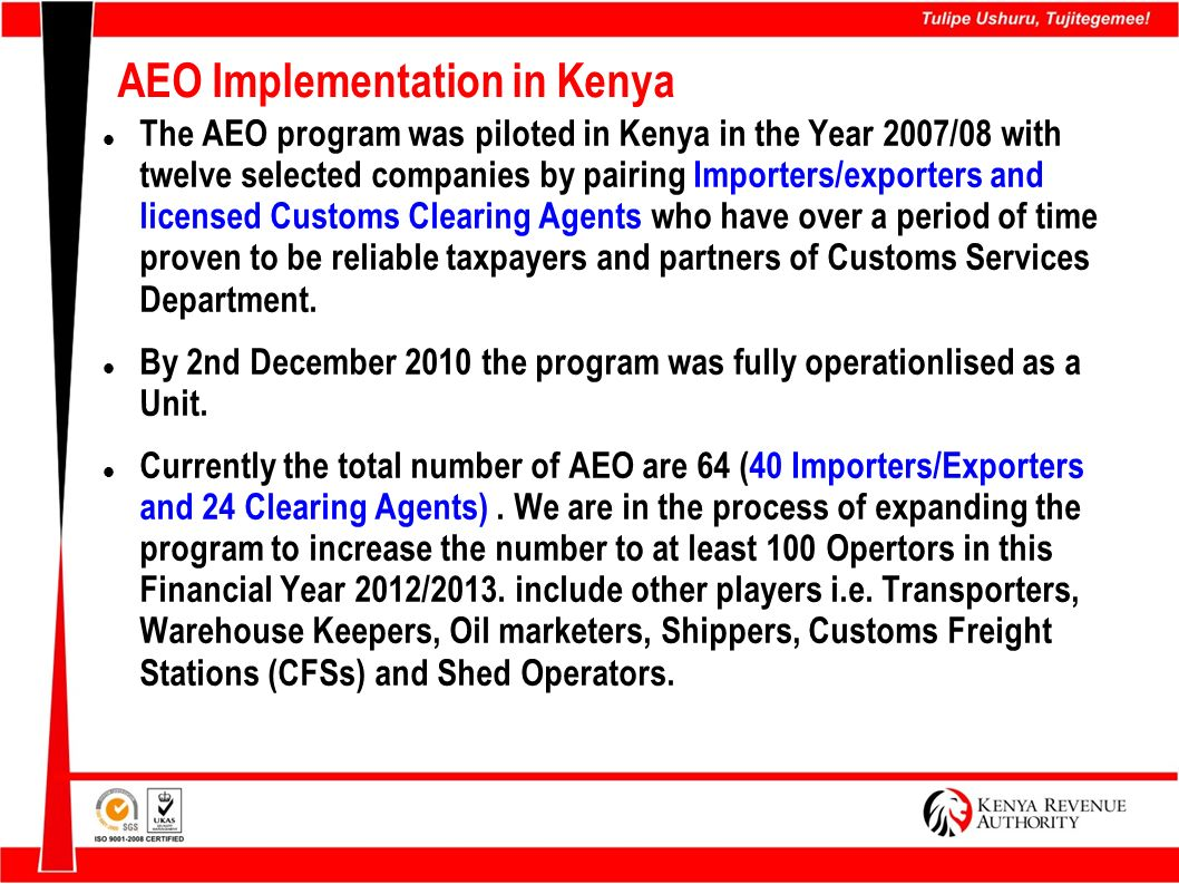 AEO Implementation in Kenya Cont.