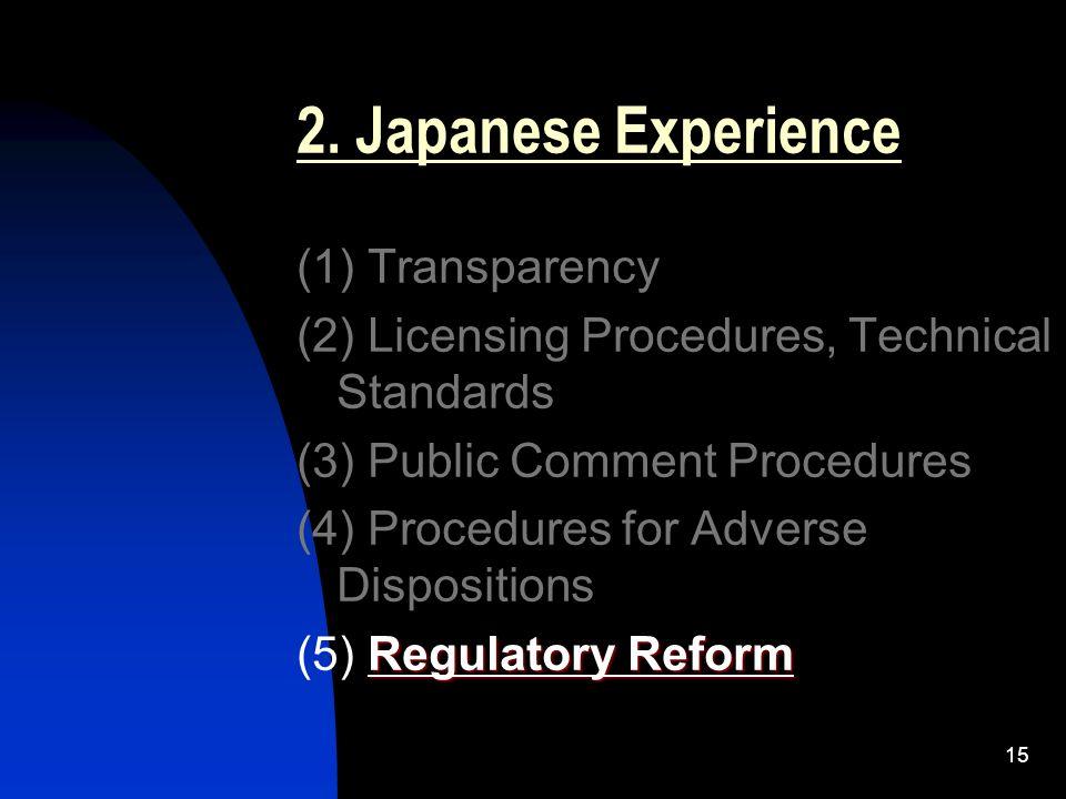 15 2. Japanese Experience (1) Transparency (2) Licensing Procedures, Technical Standards (3) Public Comment Procedures (4) Procedures for Adverse Disp