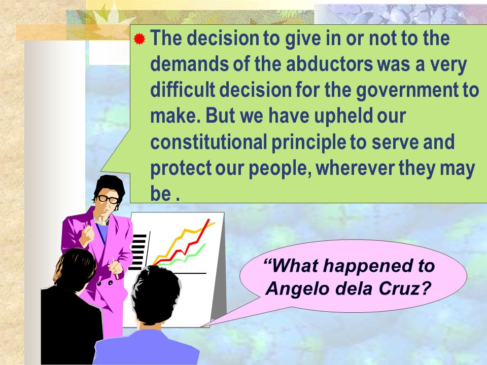 What happened to Angelo dela Cruz? The decision to give in or not to the demands of the abductors was a very difficult decision for the government to
