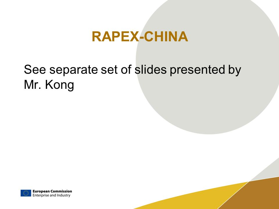 RAPEX-CHINA See separate set of slides presented by Mr. Kong
