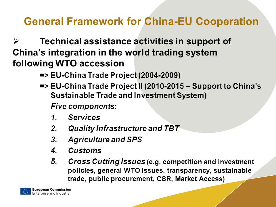 General Framework for China-EU Cooperation Political oversight: =>High-Level Economic Dialogue (2007) =>High-Level Strategic Dialogue (2007) =>Annual China-EU Summits