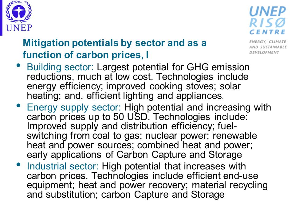 Mitigation potentials by sector and as a function of carbon prices, I Building sector: Largest potential for GHG emission reductions, much at low cost