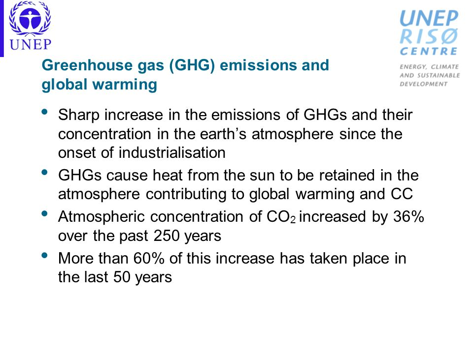 Greenhouse gas (GHG) emissions and global warming Sharp increase in the emissions of GHGs and their concentration in the earths atmosphere since the o