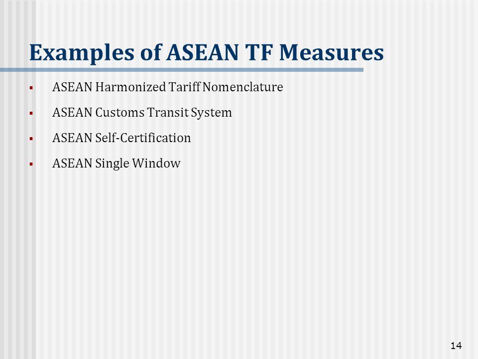 ASEAN Harmonized Tariff Nomenclature ASEAN Customs Transit System ASEAN Self-Certification ASEAN Single Window Examples of ASEAN TF Measures 14