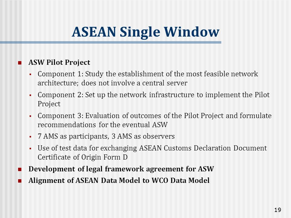 ASEAN Single Window ASW Pilot Project Component 1: Study the establishment of the most feasible network architecture; does not involve a central serve