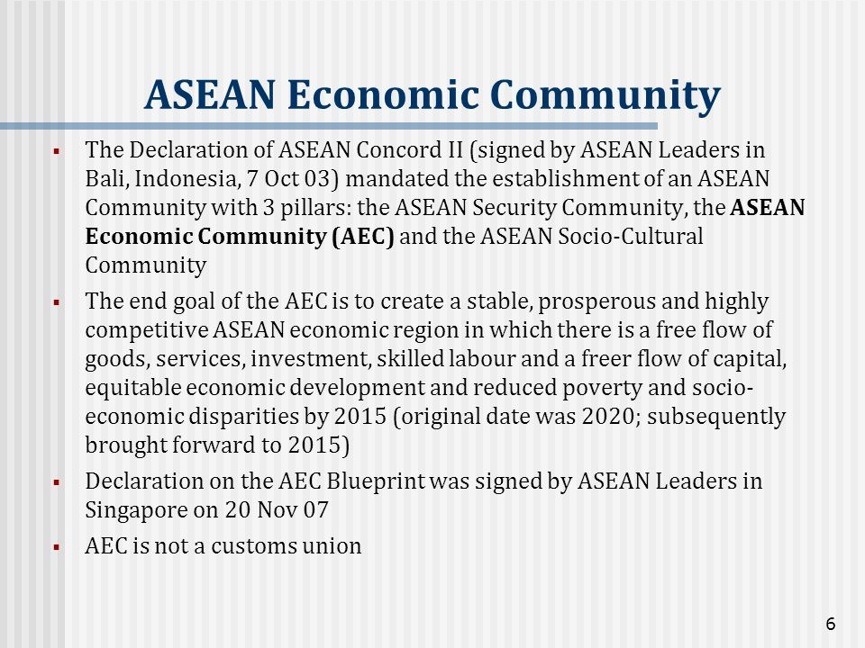 The Declaration of ASEAN Concord II (signed by ASEAN Leaders in Bali, Indonesia, 7 Oct 03) mandated the establishment of an ASEAN Community with 3 pil