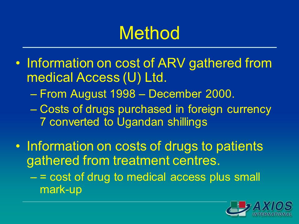 Method Information on cost of ARV gathered from medical Access (U) Ltd.