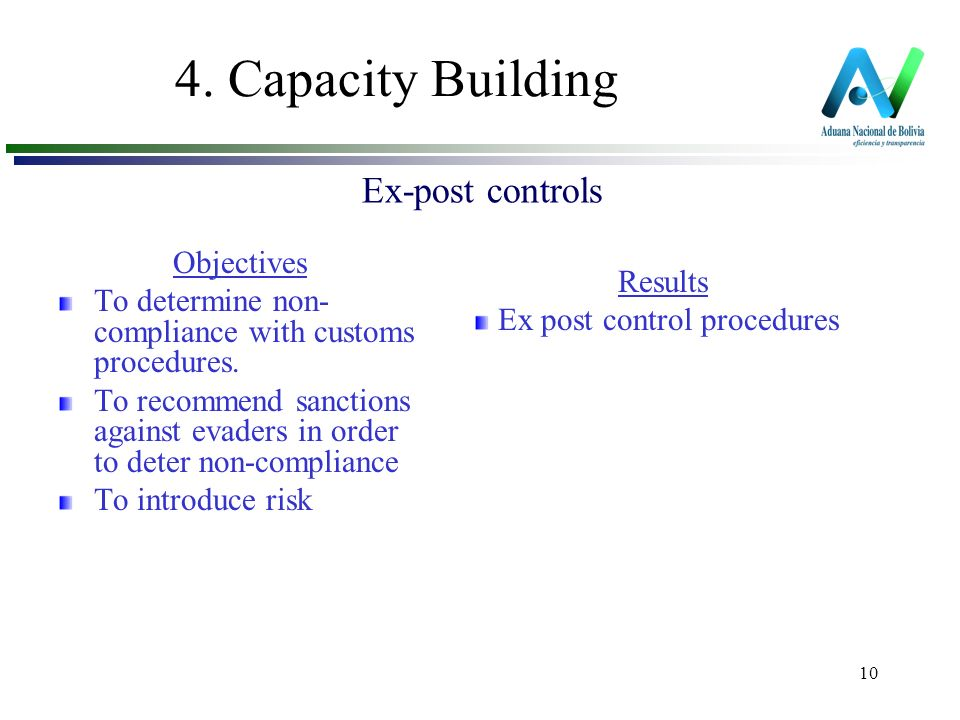 10 4. Capacity Building Objectives To determine non- compliance with customs procedures.