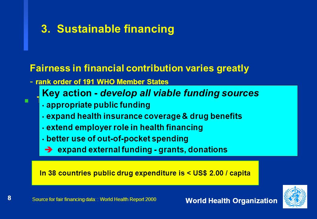 8 World Health Organization In 38 countries public drug expenditure is < US$ 2.00 / capita 3. Sustainable financing n Top 5 countries, Africa ä Mozamb