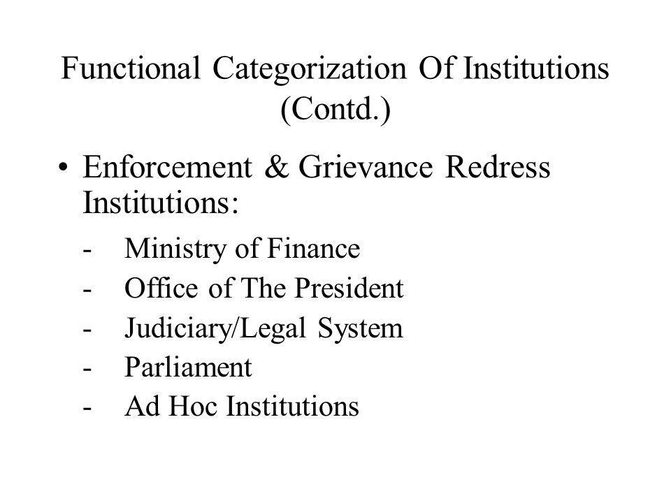 Functional Categorization Of Institutions (Contd.) Enforcement & Grievance Redress Institutions: -Ministry of Finance -Office of The President -Judici