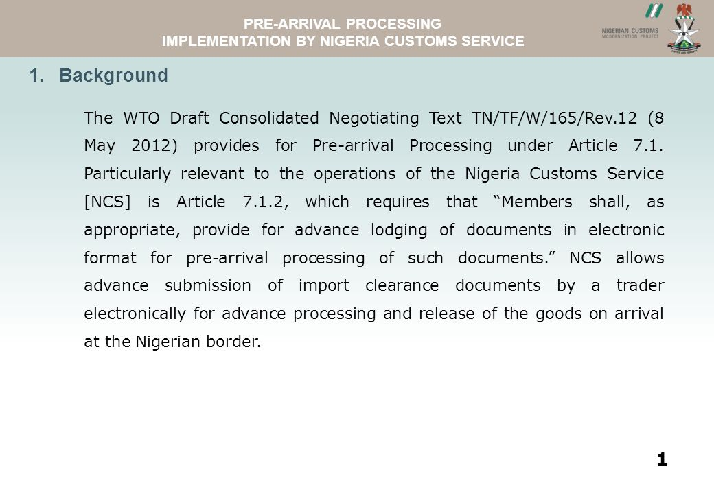 ASYVIEWNCS WEBSITE PRE-ARRIVAL PROCESSING IMPLEMENTATION BY NIGERIA CUSTOMS SERVICE 2.