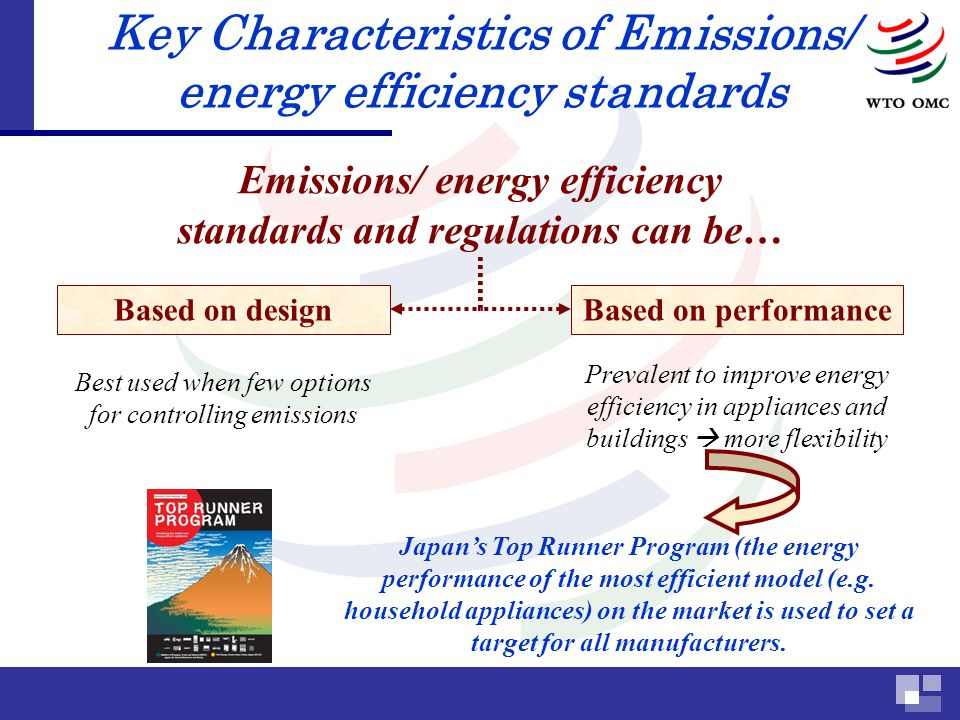 Key Characteristics of Emissions/ energy efficiency standards Emissions/ energy efficiency standards and regulations can be… Based on designBased on performance Best used when few options for controlling emissions Prevalent to improve energy efficiency in appliances and buildings more flexibility Japans Top Runner Program (the energy performance of the most efficient model (e.g.