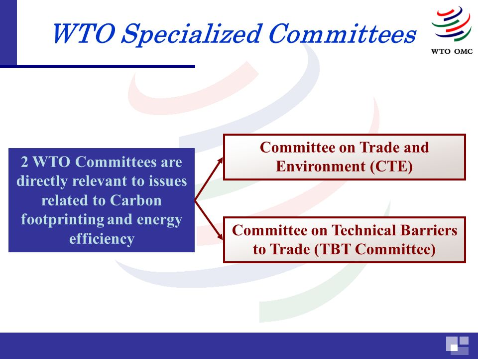 WTO Specialized Committees 2 WTO Committees are directly relevant to issues related to Carbon footprinting and energy efficiency Committee on Technical Barriers to Trade (TBT Committee) Committee on Trade and Environment (CTE)