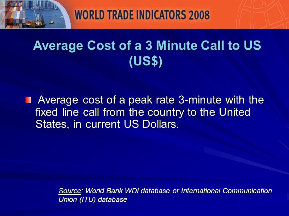 Average Cost of a 3 Minute Call to US (US$) Average Cost of a 3 Minute Call to US (US$) Source: World Bank WDI database or International Communication Union (ITU) database Average cost of a peak rate 3-minute with the fixed line call from the country to the United States, in current US Dollars.