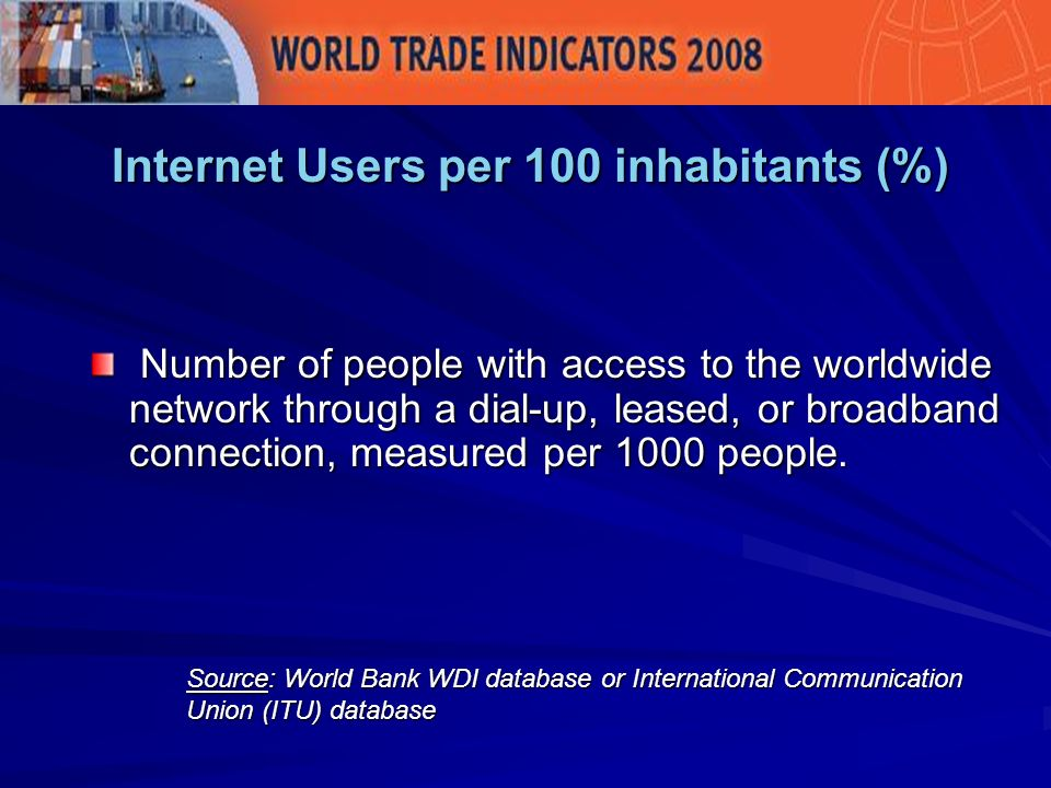 Internet Users per 100 inhabitants (%) Source: World Bank WDI database or International Communication Union (ITU) database Number of people with access to the worldwide network through a dial-up, leased, or broadband connection, measured per 1000 people.