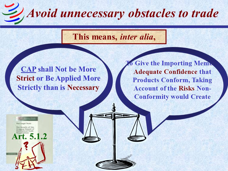 Avoid unnecessary obstacles to trade CAP shall Not be More Strict or Be Applied More Strictly than is Necessary To Give the Importing Member Adequate