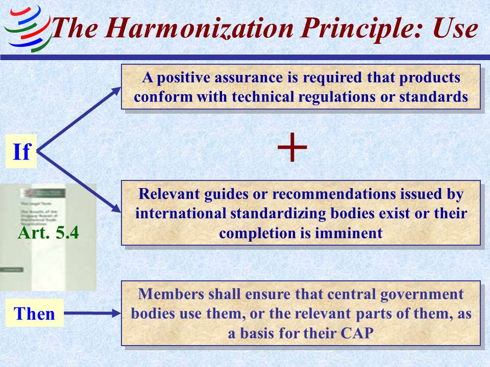 Art. 5.4 The Harmonization Principle: Use Members shall ensure that central government bodies use them, or the relevant parts of them, as a basis for