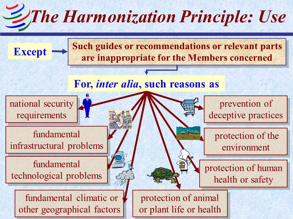 The Harmonization Principle: Use Such guides or recommendations or relevant parts are inappropriate for the Members concerned Except national security