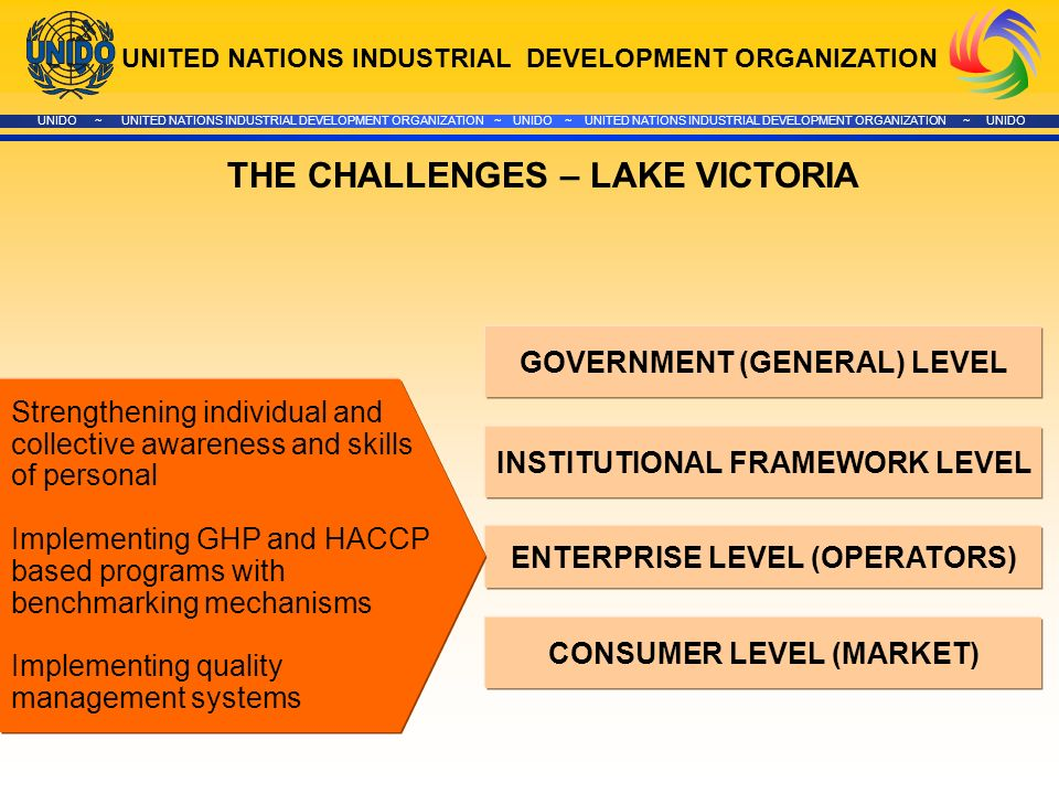 UNITED NATIONS INDUSTRIAL DEVELOPMENT ORGANIZATION UNIDO ~ UNITED NATIONS INDUSTRIAL DEVELOPMENT ORGANIZATION ~ UNIDO ~ UNITED NATIONS INDUSTRIAL DEVELOPMENT ORGANIZATION ~ UNIDO GOVERNMENT (GENERAL) LEVEL INSTITUTIONAL FRAMEWORK LEVEL ENTERPRISE LEVEL (OPERATORS) CONSUMER LEVEL (MARKET) THE CHALLENGES – LAKE VICTORIA Strengthening individual and collective awareness and skills of personal Implementing GHP and HACCP based programs with benchmarking mechanisms Implementing quality management systems