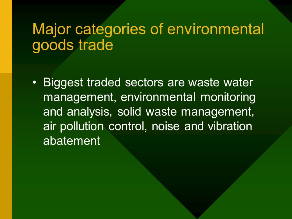 Major categories of environmental goods trade Biggest traded sectors are waste water management, environmental monitoring and analysis, solid waste management, air pollution control, noise and vibration abatement