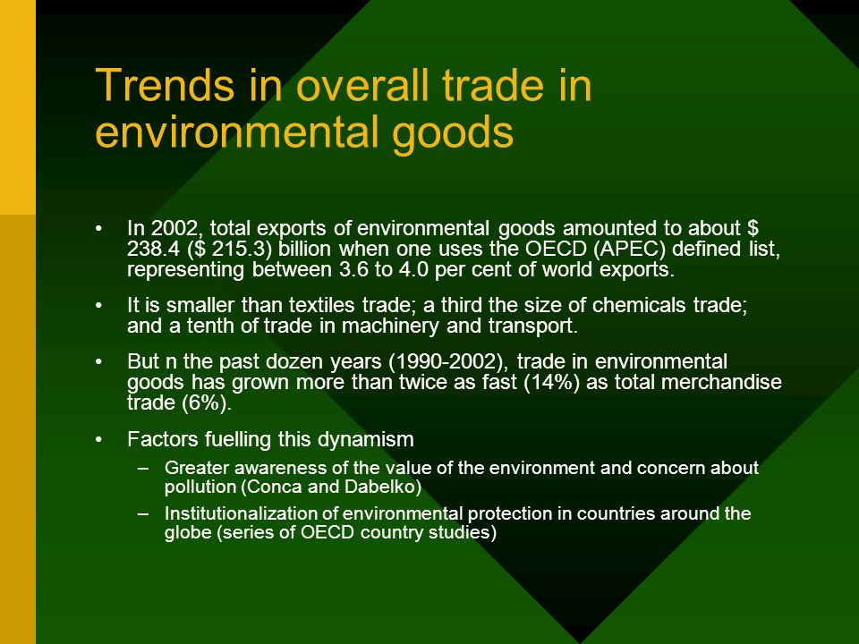 Trends in overall trade in environmental goods In 2002, total exports of environmental goods amounted to about $ ($ 215.3) billion when one uses the OECD (APEC) defined list, representing between 3.6 to 4.0 per cent of world exports.