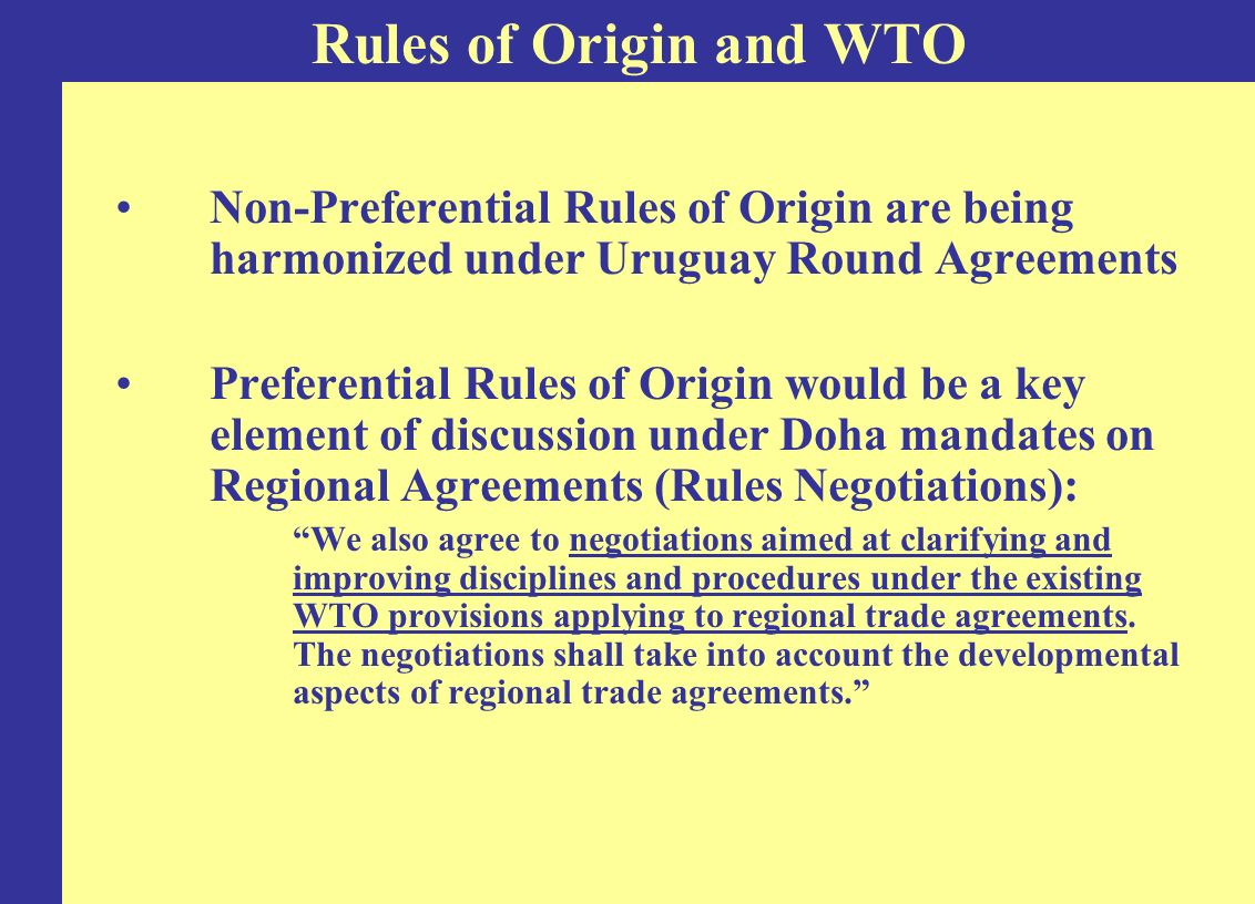 Sectoral restrictiveness is very similar across the main regimes Non-preferential RoO echo the PANEURO and NAFTA models Highest restrictiveness values in sectors with relatively high tariffs especially in EU and the US: –Agriculture –Textiles and apparel –Transportation equipment Trade-weighted restrictiveness of RoO deviates little from unweighted restrictiveness Comparing the Restrictiveness of RoO Regimes