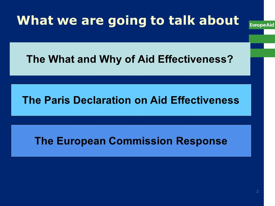 EuropeAid 2 What we are going to talk about The Paris Declaration on Aid Effectiveness The European Commission Response The What and Why of Aid Effect