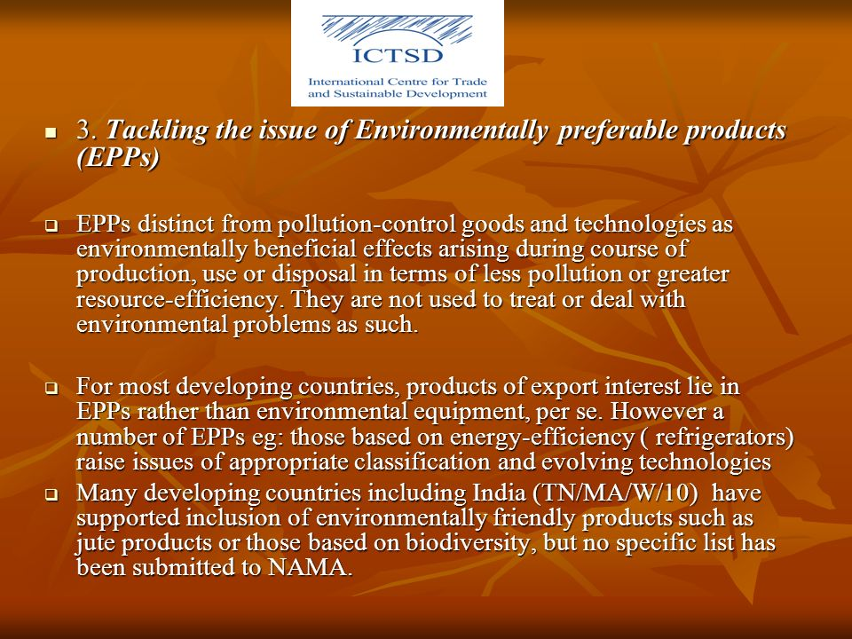 3. Tackling the issue of Environmentally preferable products (EPPs) 3.