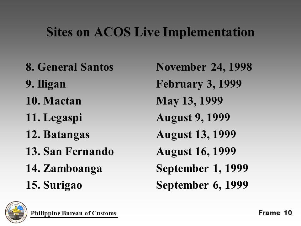 Sites on ACOS Live Implementation 8. General Santos 9.