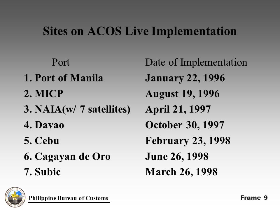 Sites on ACOS Live Implementation Port 1. Port of Manila 2.